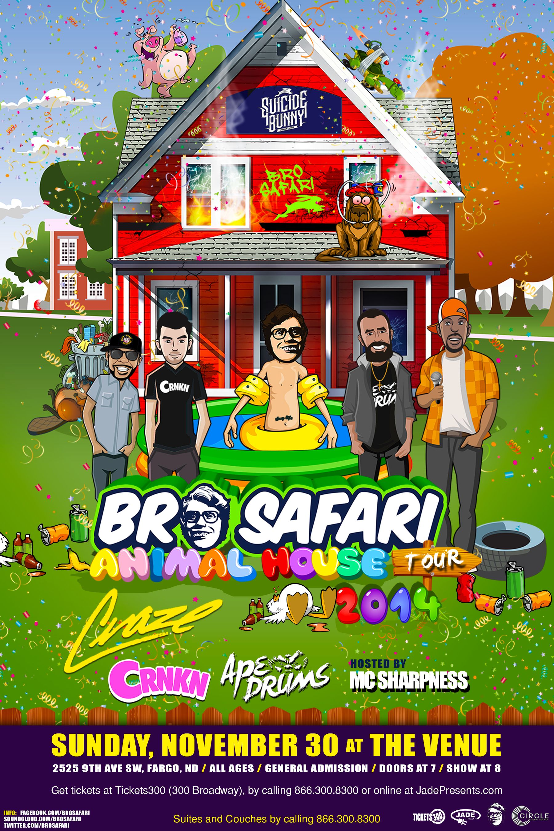 Bro Safari is bringing the Animal House Tour to The Venue on Sunday, November 30th! Purchase your tickets today at Tickets300, by calling 866-300-8300, or online at jadepresents.com.