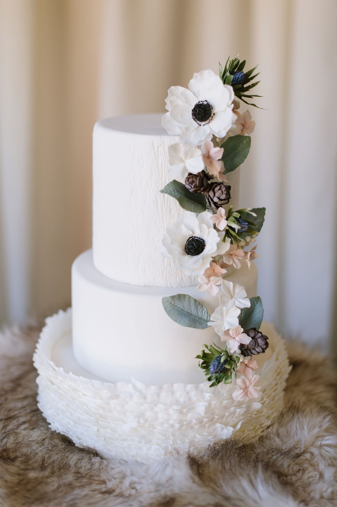 White Wedding Cake with a Ruffle Texture & Painted Sugar Flowers of ...