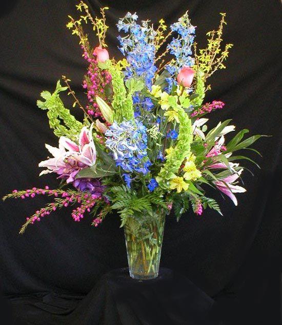 Large Colorful Spring Flower Bouquet Vase Arrangement in ... |Large Spring Floral Arrangements
