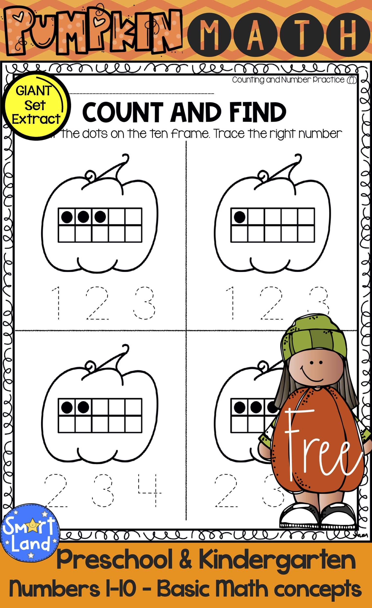 Free Math Practice Worksheets Numbers 1 10 Perfect For Fall And Pumpkin Themes Free Math Practice Pumpkin Math Free Math