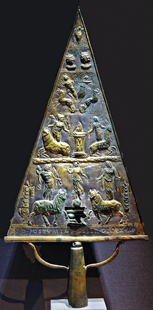 Jupiter Dolichenus Votive relief - bronze tablet from Ancient Age, at the Museum of Art History, Vienna