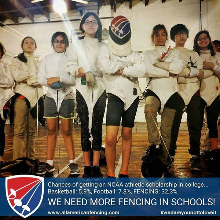 Chances of getting an NCAA athletic scholarship in college...Basketball: 5.9% Football: 7.8% FENCING: 32.3% ... Try Fencing. We Dare You Not To Love It.  http://aafa.me/1ZKvOFY http://aafa.me/1Wt9Rhd