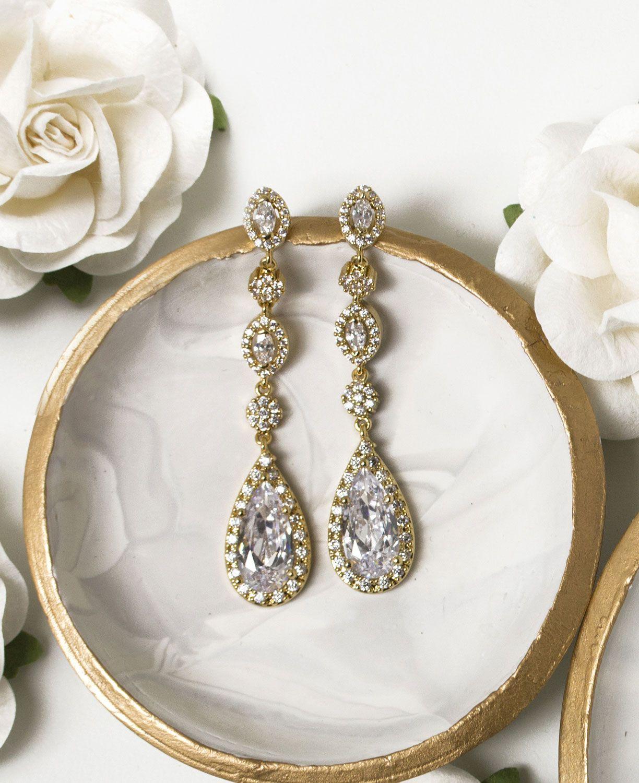 Daisy Long Drop Earrings Dangle Earrings Wedding Bridesmaids Earrings Drop Crystal Bridal Earrings