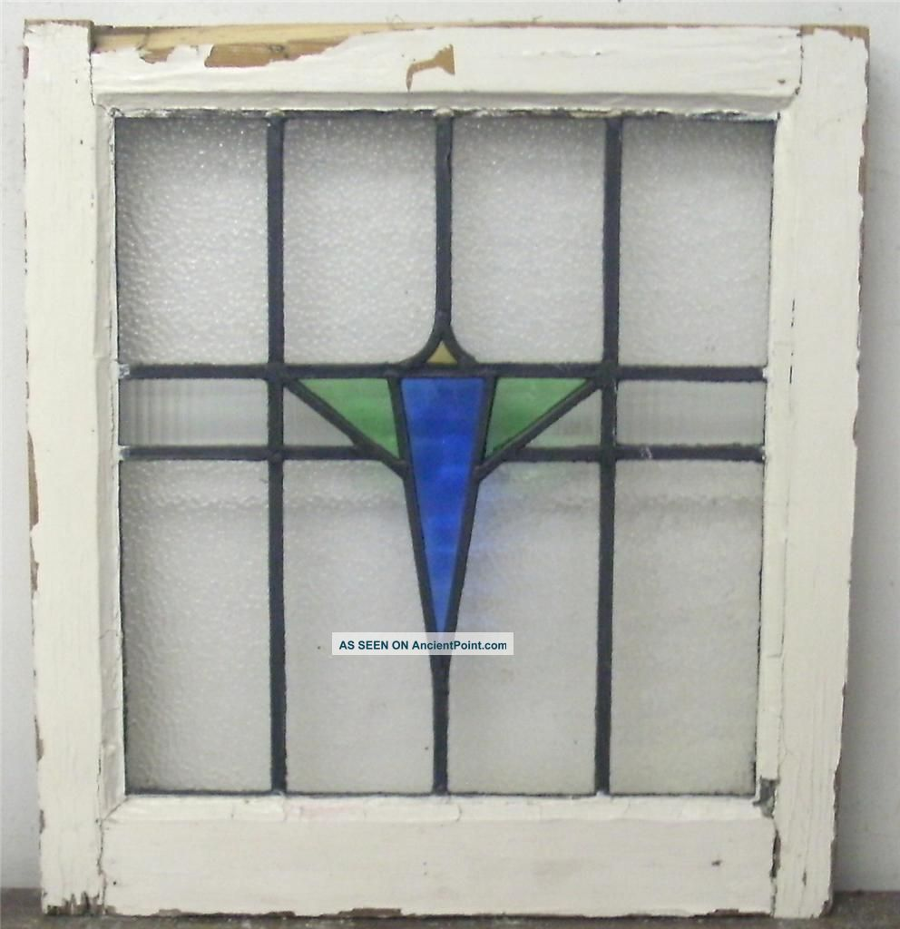 Glass window design - Antique Stained Glass Windows Old English Stained Glass Window Geometric Design 1900 1940 Photo