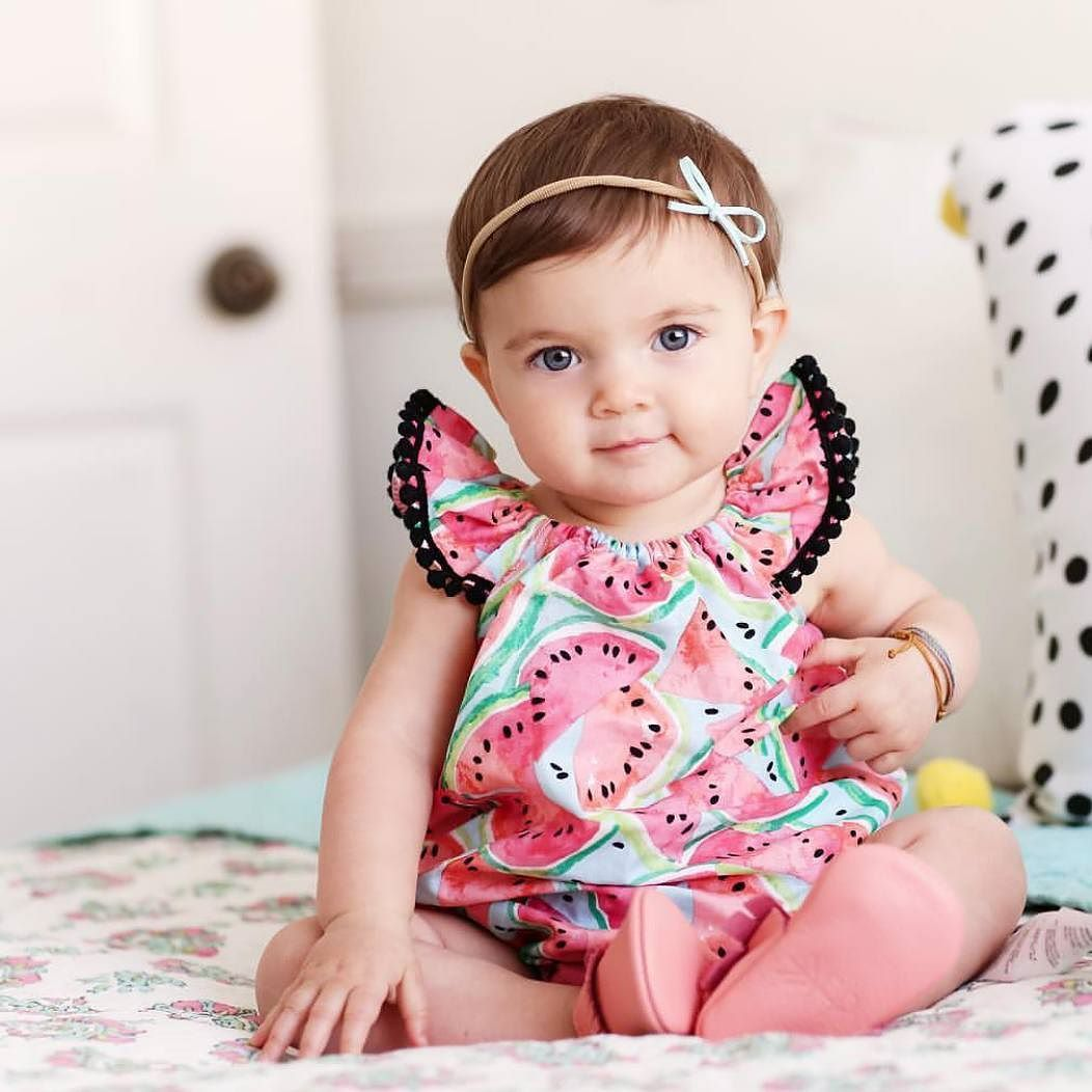 This sweetheart is giving me all the summer vibes in that watermelon shirt & dainty bow headband. Those ruffle sleeves though!: @nikkinielsen .