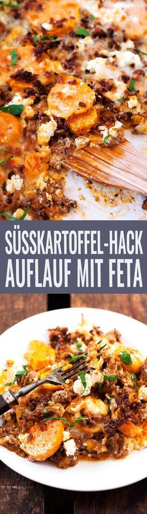 Süßkartoffel-Hackfleisch-Auflauf mit Feta - Kochkarussell #beefhealthyrecipes