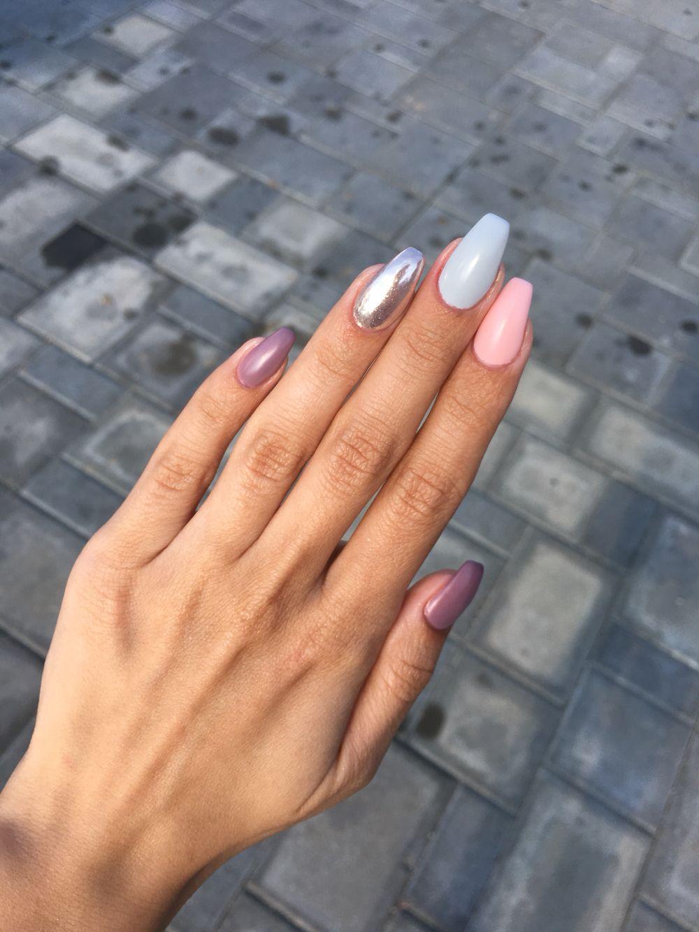 Mauve Pink grey matte coffin ballerina Chrome nails Summer 2016 ...