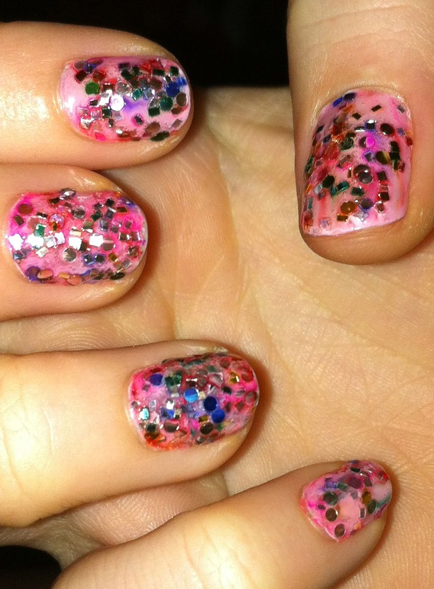 Did these myself - Raise Awareness by Essie and some glitter we had at the house. Festive, right? #nails