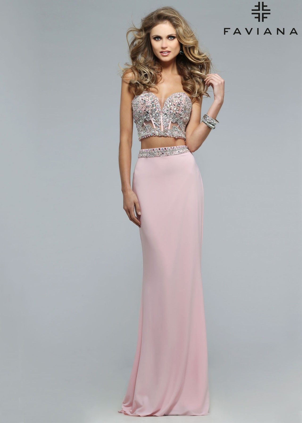e1eaf4d5234 Faviana S7524 Ice Pink Jersey Two Piece Beaded Corset Dress Set ...