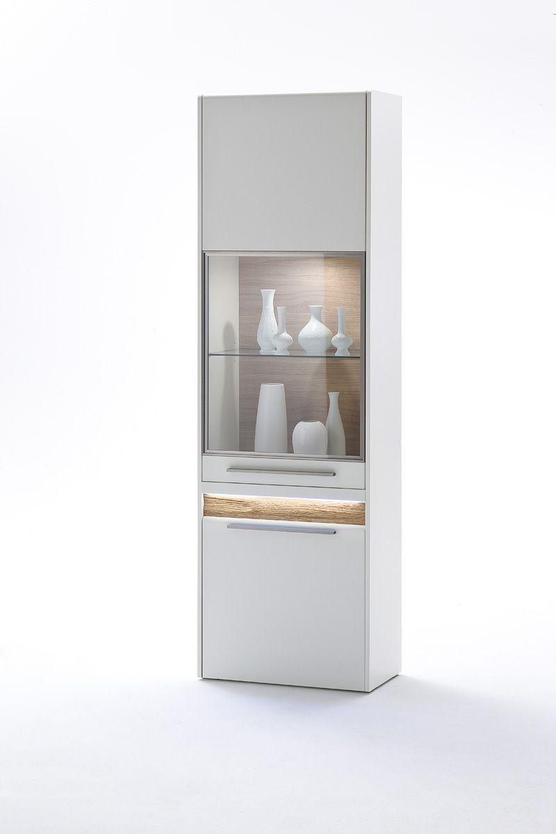 Marvelous Vitrine Velvet II inklusive Fronteffekt LED Beleuchtung Wei Matt Struktur Eiche Modernes Design gepaart