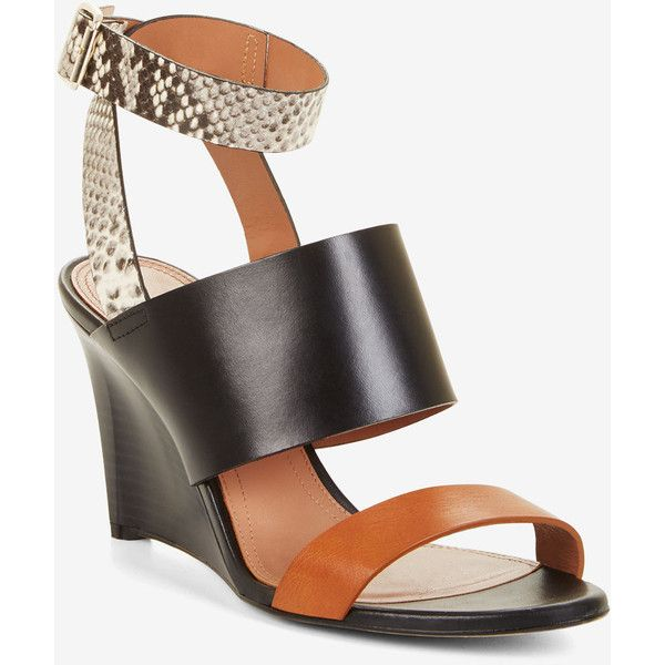 BCBGMAXAZRIA Kalice Leather Wedge Sandals ($268) ❤ liked on