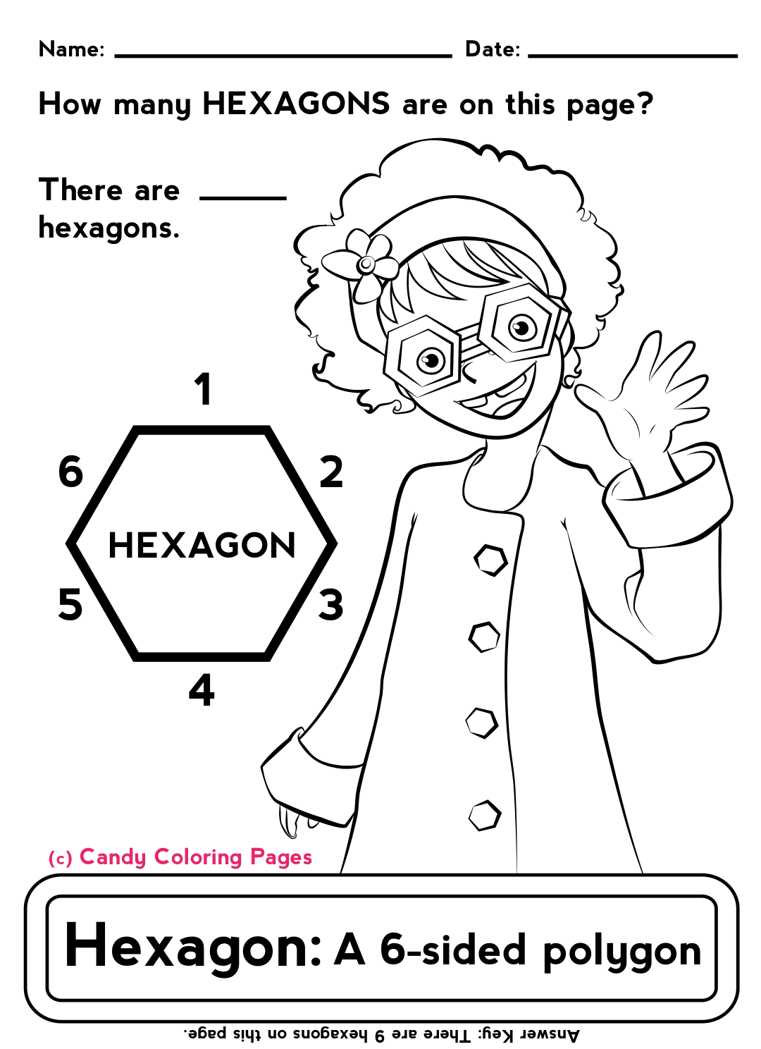 Coloring sheets with math problems - Polygons Hexagon Coloring Pages Math Worksheets