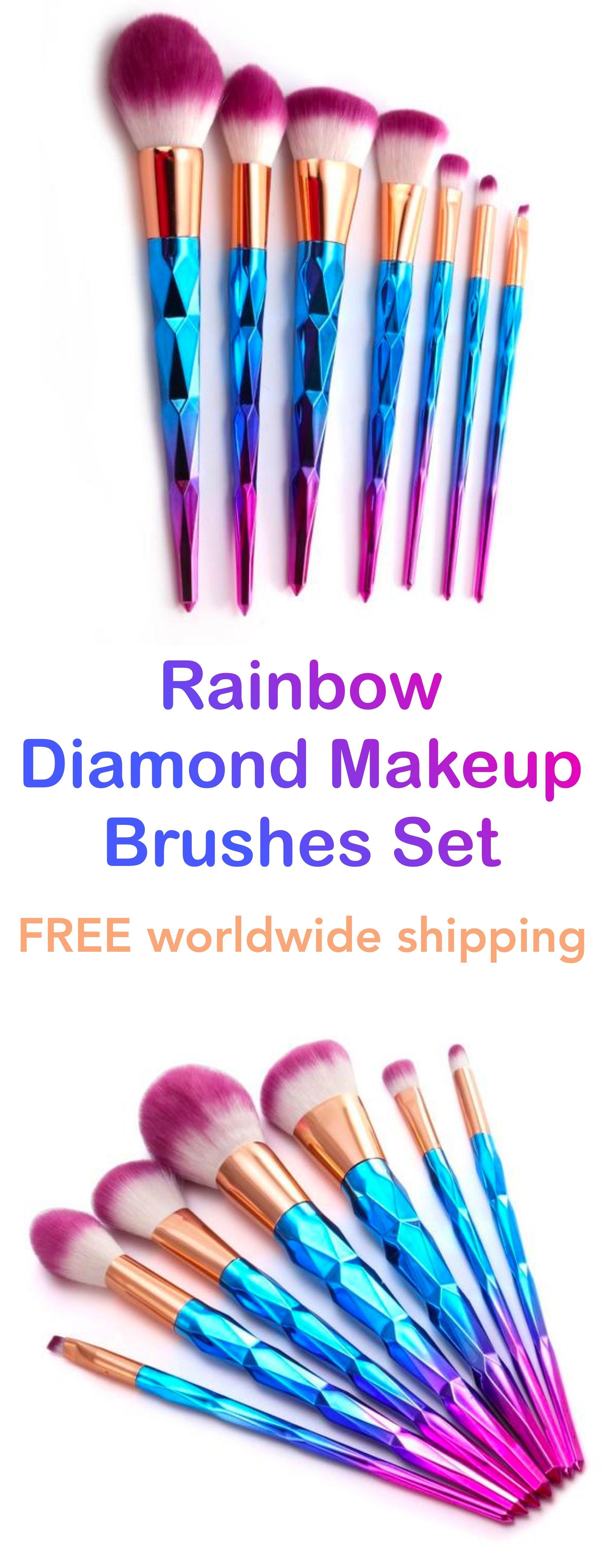 Diamond Rainbow Mermaid Makeup Brushes Set (7pcs) Makeup