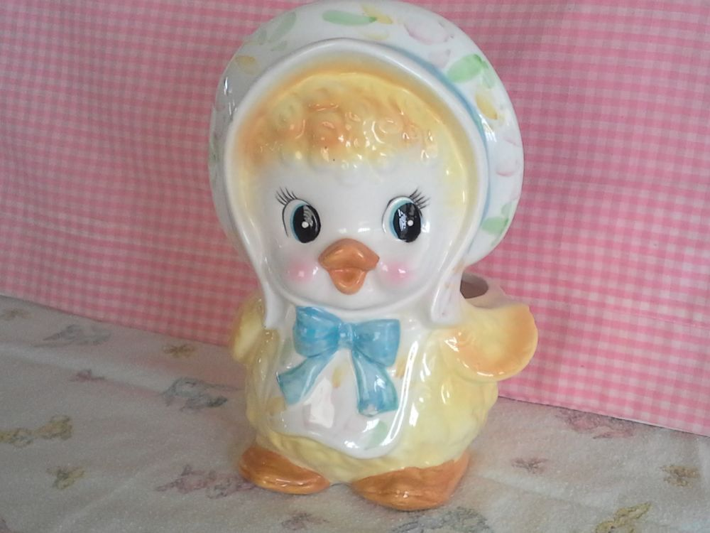 Vintage Retro Baby Nursery Duck Planter Collectible Japan Big Eyes Eyed