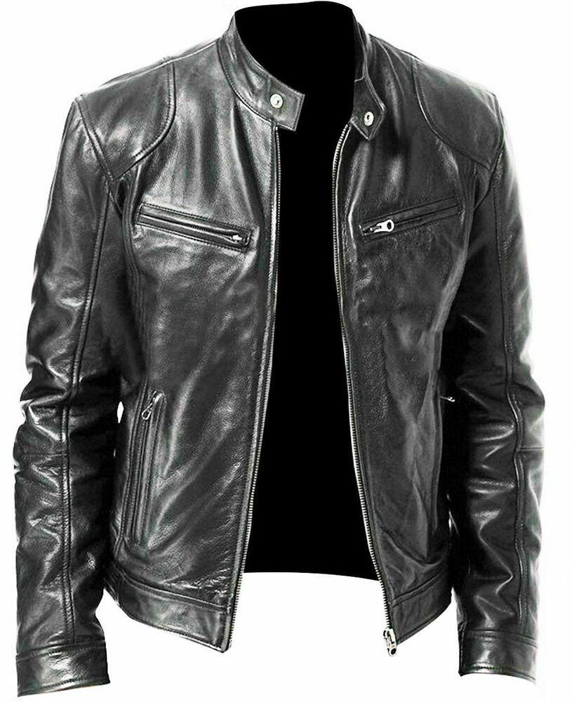 Vintage pour homme CAFE RACER Noir en Cuir Véritable Slim Véritable Veste de motard