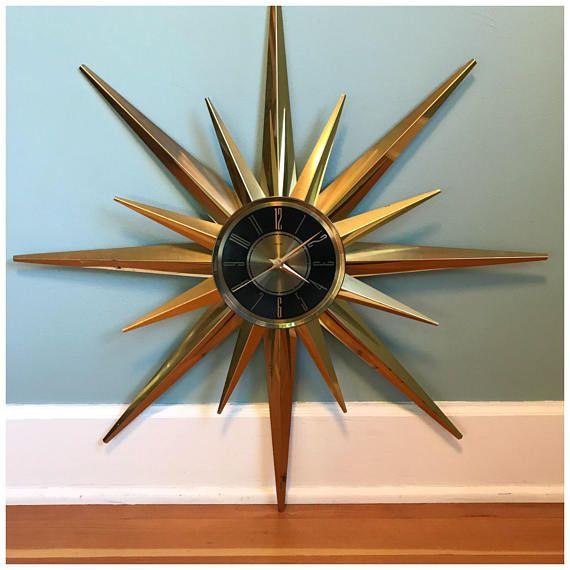 Vintage Mid Century Sunburst Atomic Eames Era Wall Clock 1960