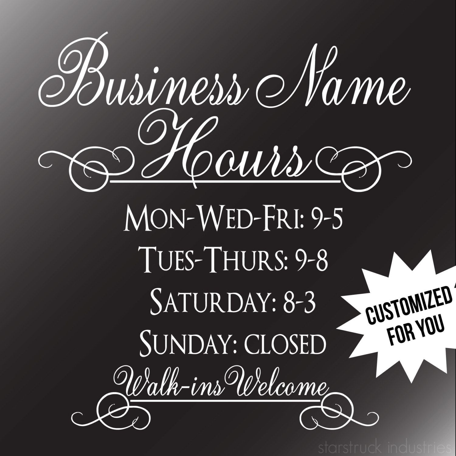 Business Hours Decal Storefront Window Business Hours