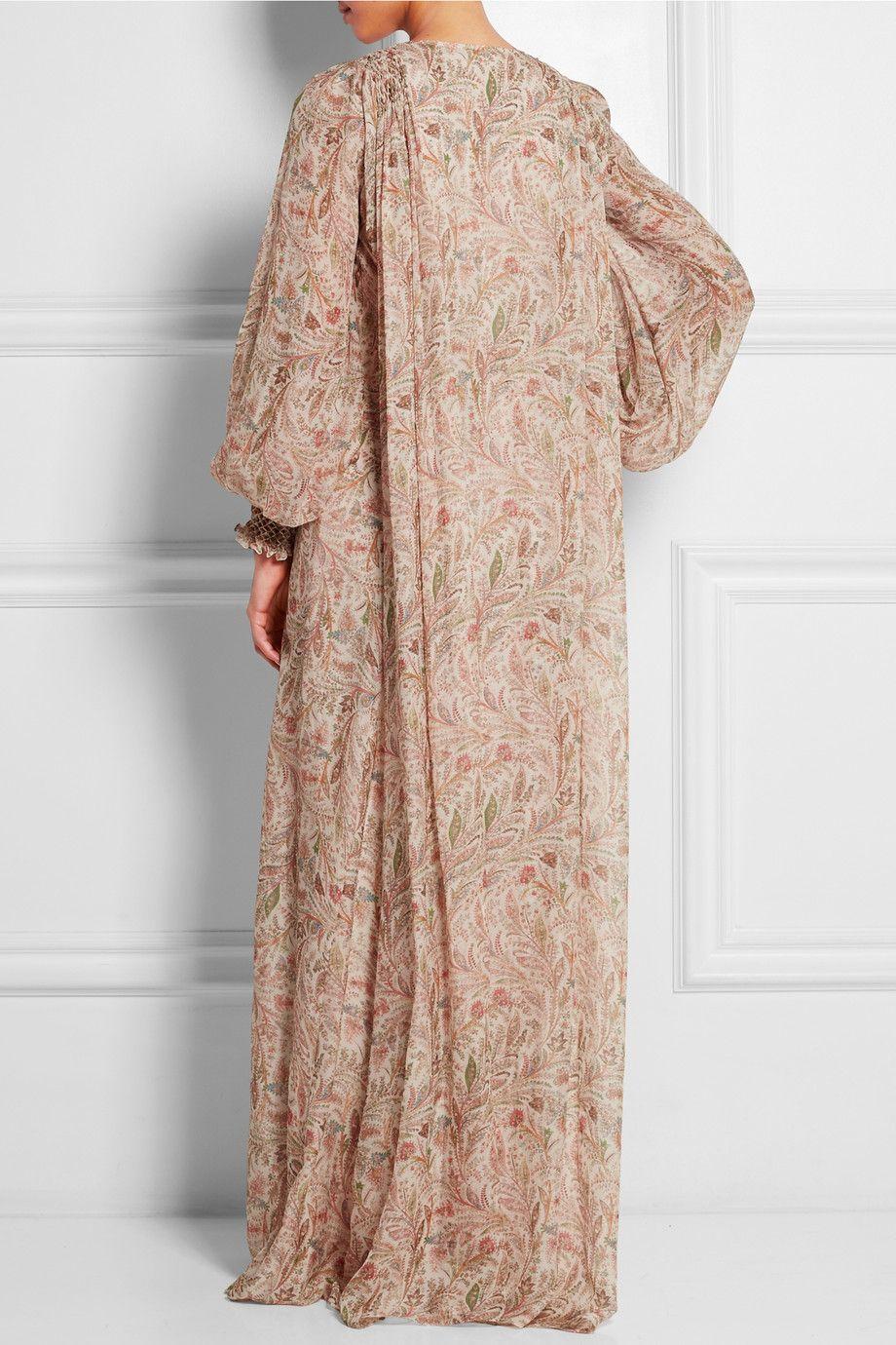 Vilshenko|Robe longue en mousseline de soie imprimée Flora|NET-A-PORTER.COM