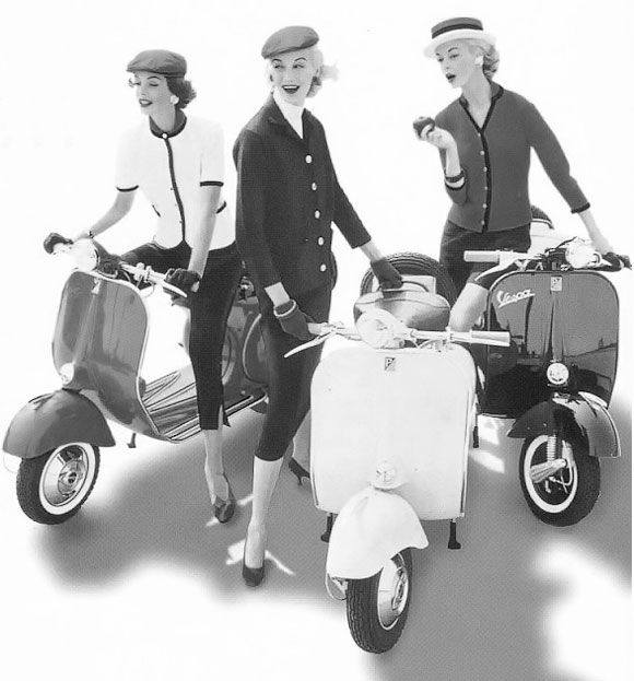 pinterest.com/fra411 #vintage #fashion - Vespas and '50s fashion. I think that's Sunny Harnett (model) in the middle.