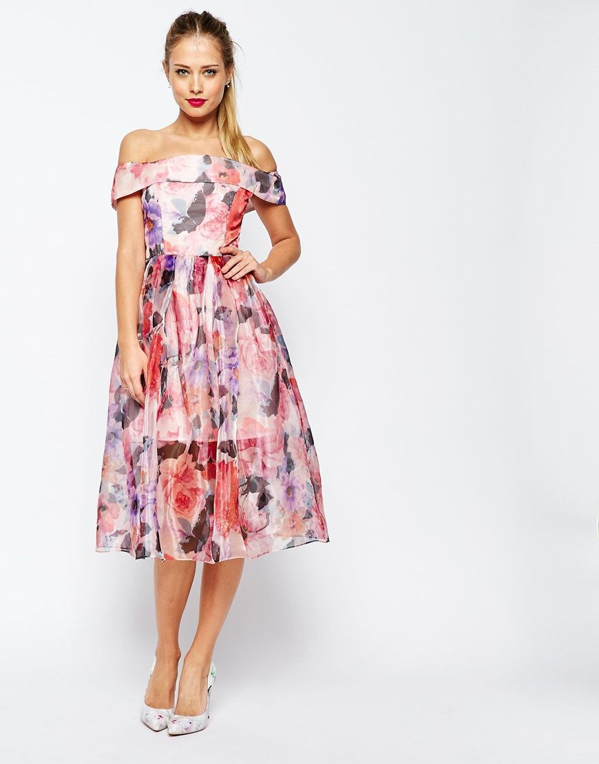 b044e9cc30 ASOS SALON Floral Organza Off The Shoulder Bardot Midi Prom Dress ...