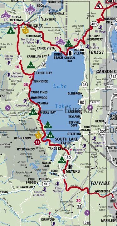 lake tahoe tourist map Lake Tahoe Region Motorcycle Touring Map C Eureka Cartography lake tahoe tourist map