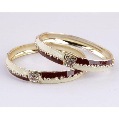 Enamel Gold Plated 2 Pc Bangle Set With White Stones (Size 2-8)