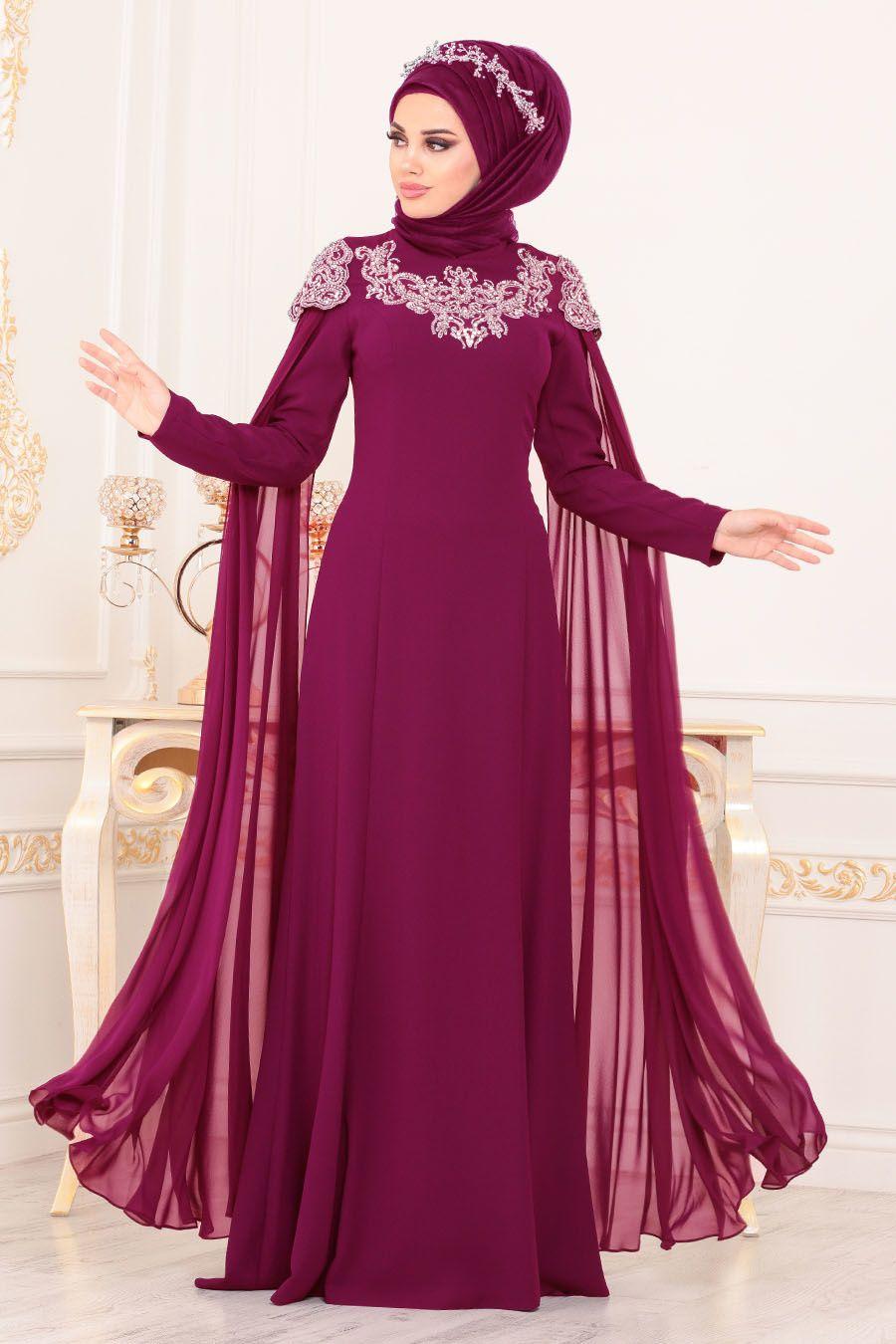 2017039949dbe Tesettürlü Abiye Elbise - Taş Detaylı Fuşya Tesettür Abiye Elbise 20250F