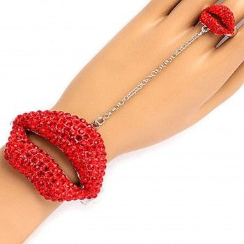 Celebrity Inspired Crystal Lips Cuff #Bracelet & Ring. This celebrity inspired bracelet-ring combo is perfect for adding a touch of sparkle to your ensemble! It features red crystal studded lips bracelet that's attached to a red crystal covered lips ring for a trendy and cutting edge look. DETAILS: http://www.lolafashionaccessories.com/products/Celebrity-Inspired-Crystal-Lips-Cuff-Bracelet-%26-Ring-.html $36