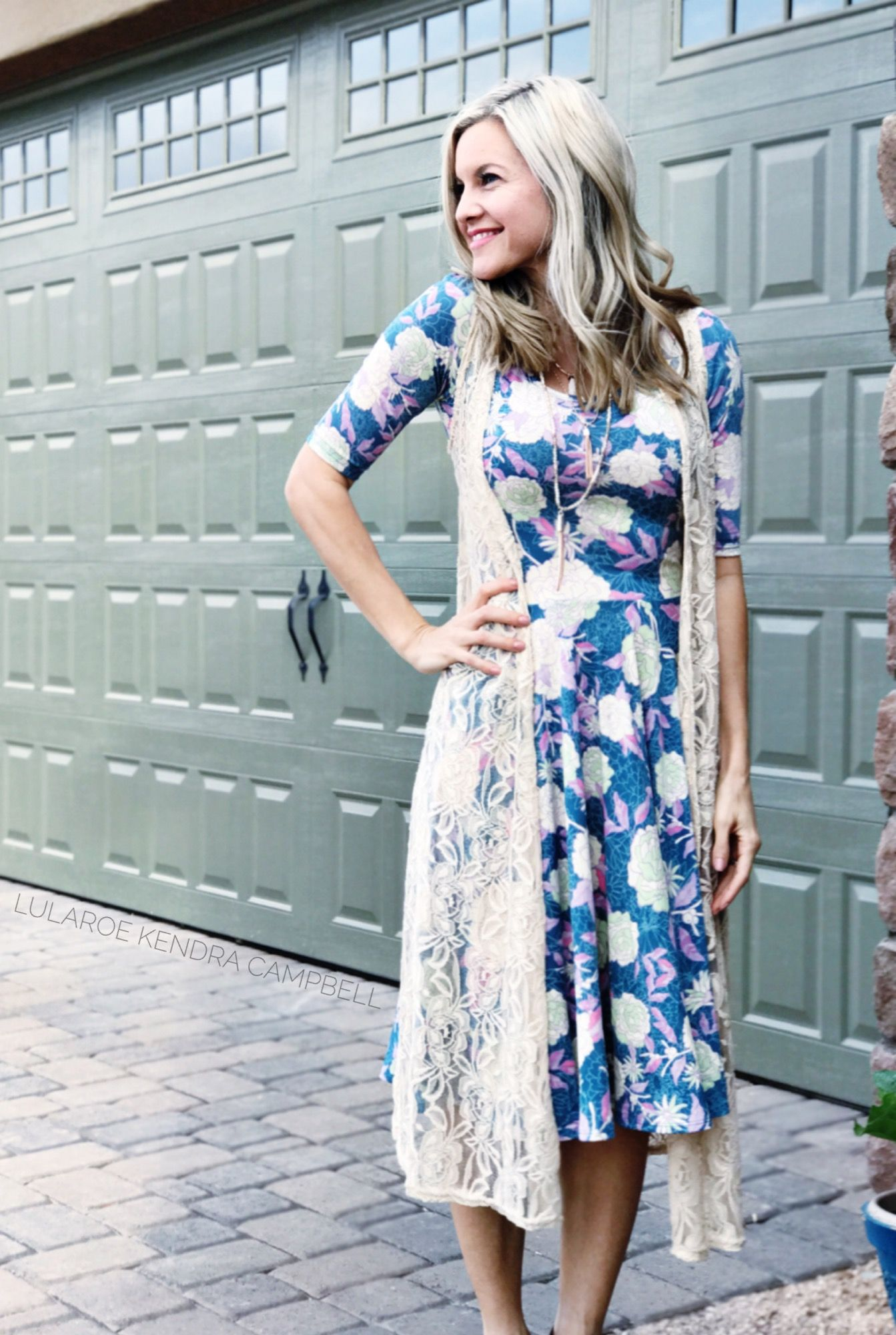 a488f6025d1 Gorgeous floral LuLaRoe Nicole dress with a lace Joy vest. Click to shop  LuLaRoe and for more styling ideas and giveaways.