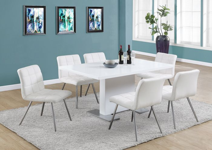 Create A Trendy Contemporary Look With This Glossy White Dining Table Piece Features Sleek Stainless Steel Feet And Generous Surface That Will