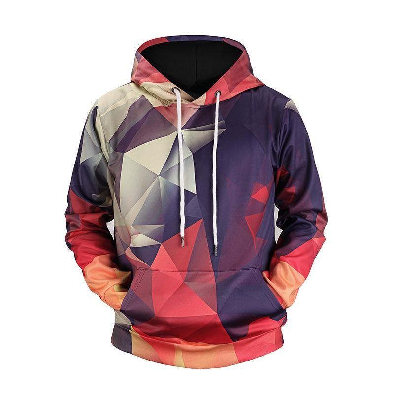 New Gradient Diamond geometry Printed 3D Hoodies Animal Men Sweatshirts Funny Loose Jackets Pullover Casual Hip Hop Tracksuits