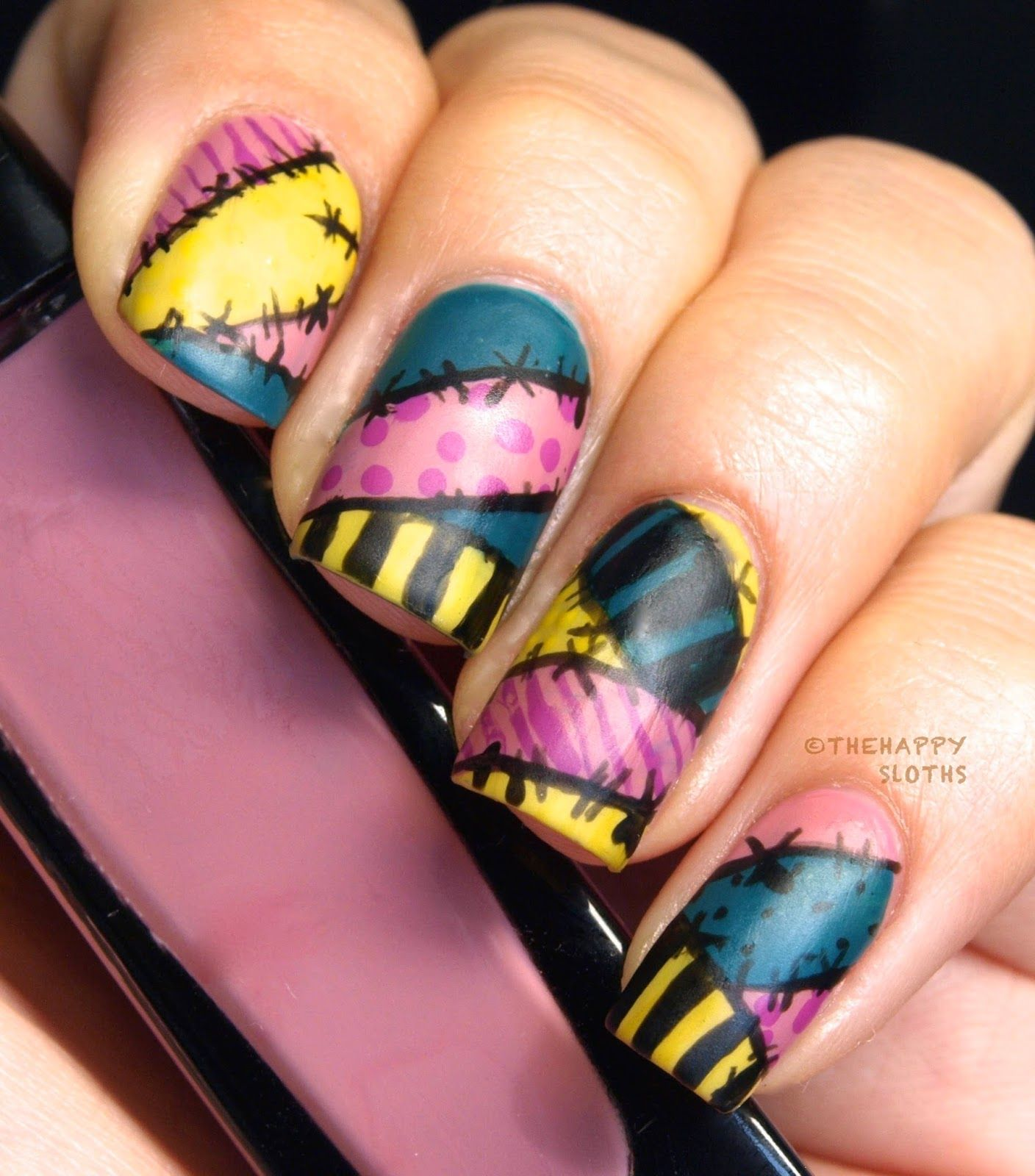 The Nightmare Before Christmas Sally Manicure: My Nail Polish Canada  Halloween Nail Art Contest Entry! (The Happy Sloths) - Nightmare Before Christmas Sally Nails Beauty Pinterest