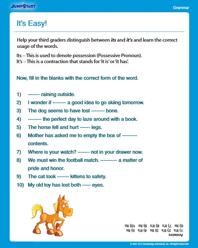 It's Easy! - Free Grammar Worksheet for 3rd Grade | it's and ...