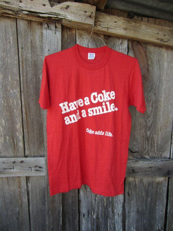 89dec150f9f 70s 80s Red Coca Cola T-Shirt