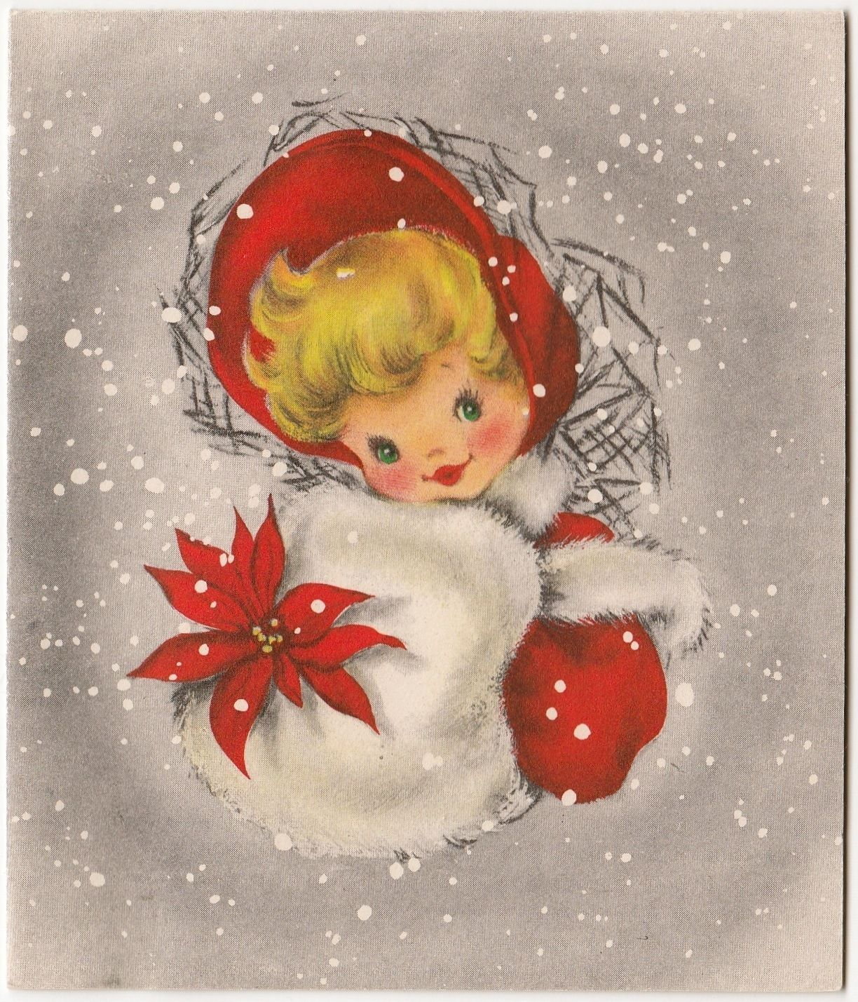 Vintage Greeting Card Christmas Cute Little Girl Fur Muff Hallmark
