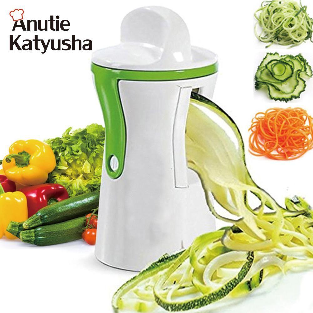 2 Blades Vegetable Spiralizer Slicer Handheld Carrot Cucumber ...