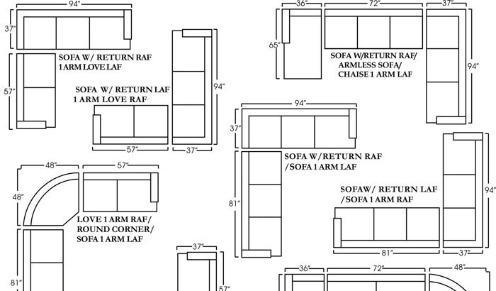 Barrington Sectional Schematic | Sofa Dimension, Sectional Sofa, Corner Sofa Design