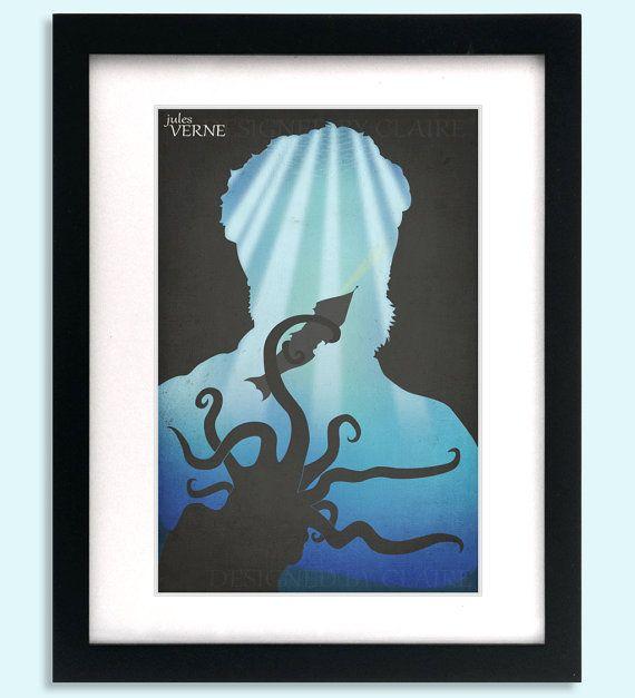 Classic Authors Art Print Jules Verne Silhouette Science Fiction Geek Decor