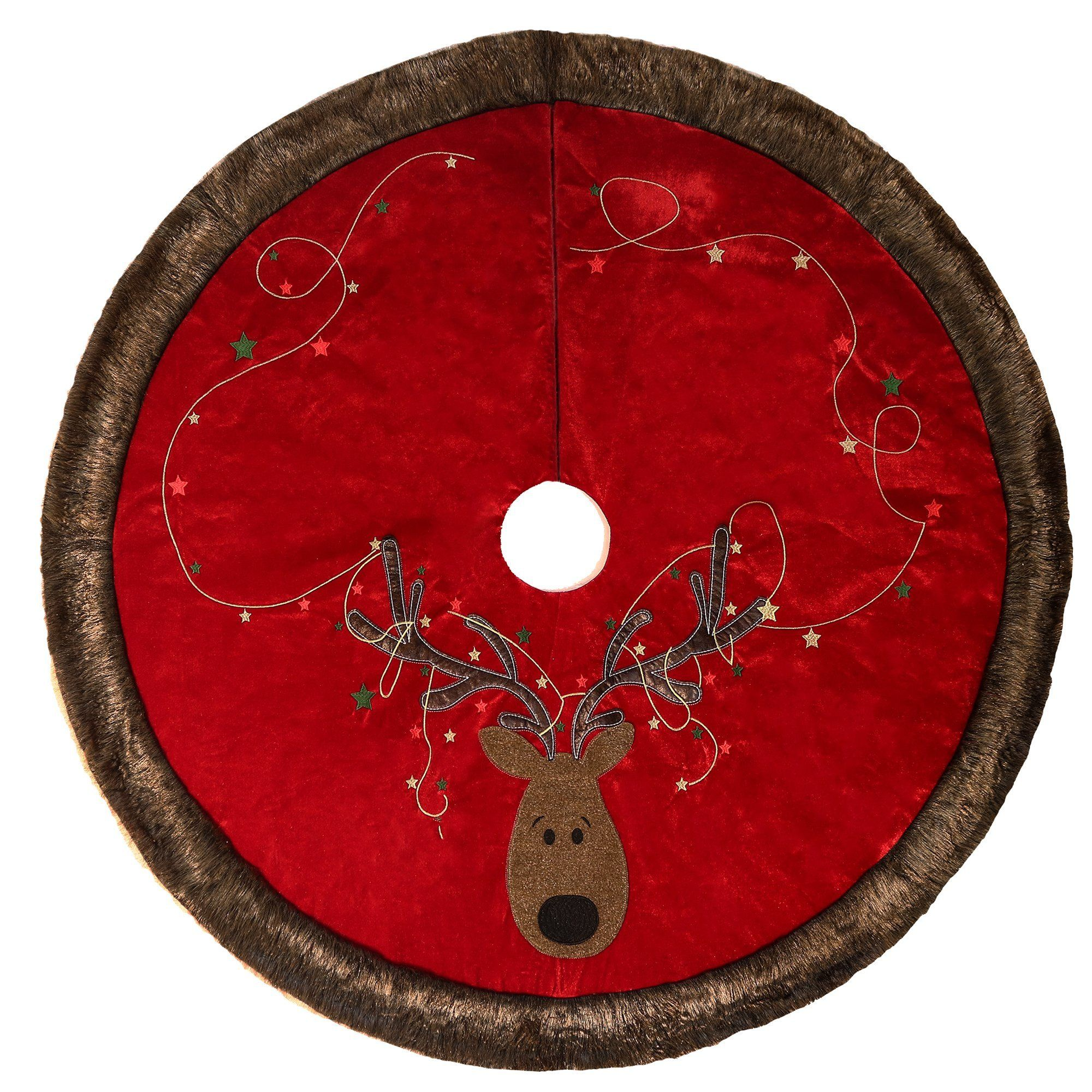 VandM VALERY MADELYN 48 Reindeer Christmas Tree Skirt with