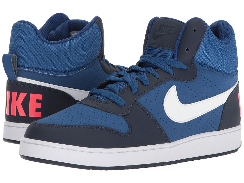 the latest 79cfa c0951 Nike Court Borough Mid Men s Basketball Shoes Gym Blue White Obsidian Solar  Red
