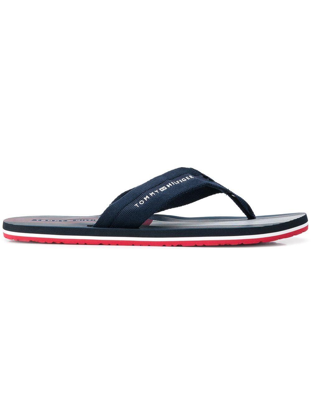 Blue Tommy Hilfiger Mens Logo Flip Flops