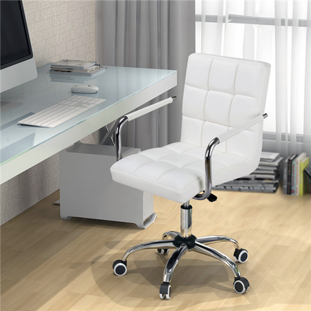 Modern Leather Swivel Executive Office Chair White Walmart Com