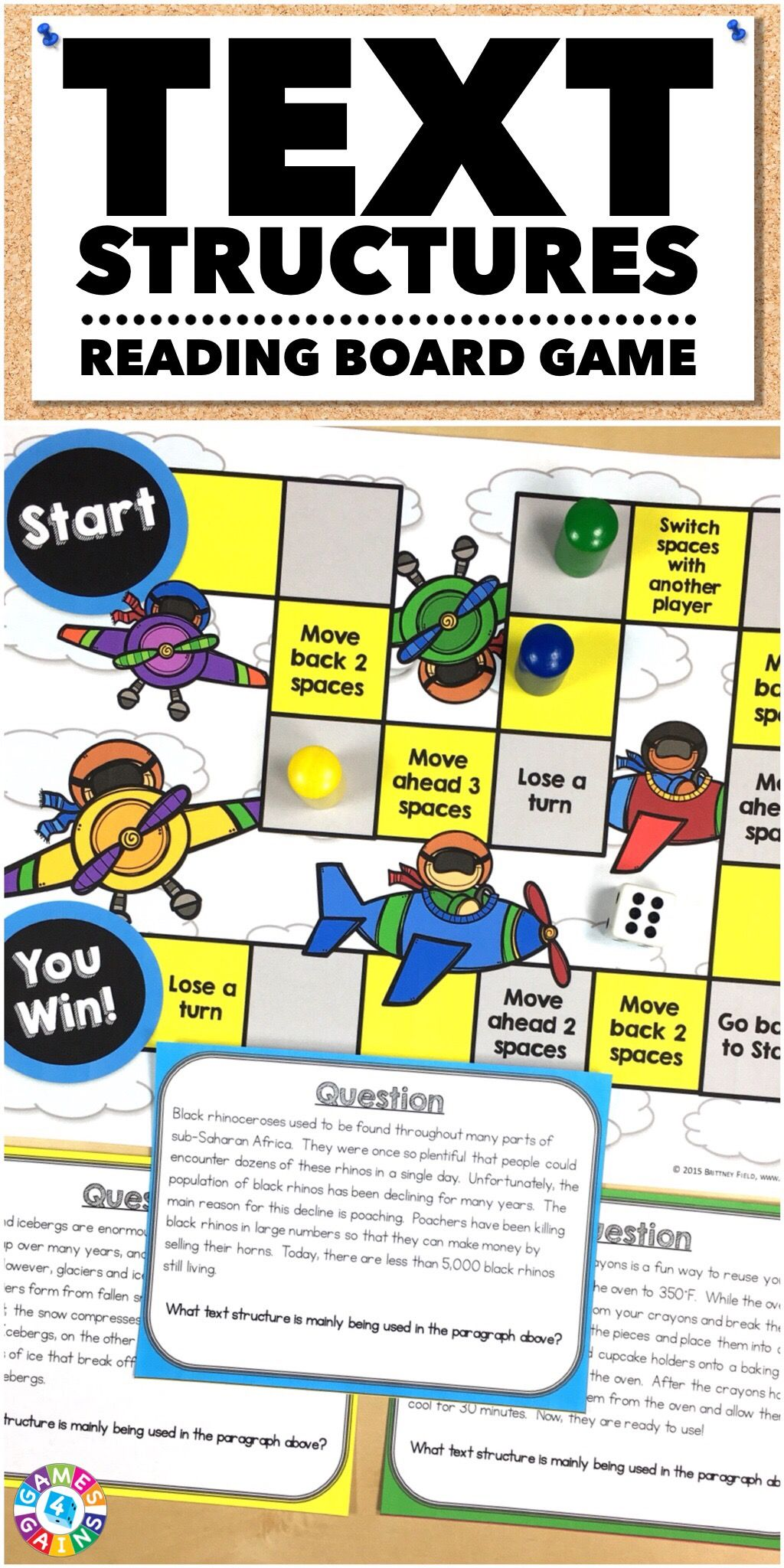 Text Structures Task Cards Game Includes 32 Text