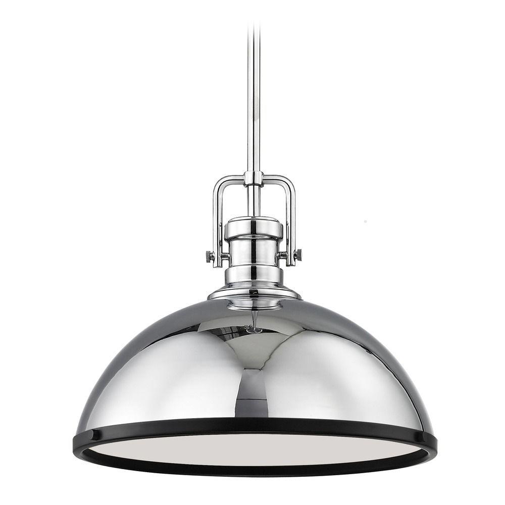 Farmhouse chrome pendant light with black accents 1338