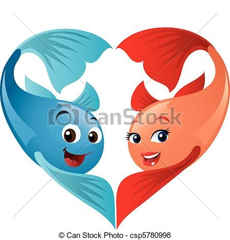 Vector Of Cute Valentine Fish Couple Forming A Heart A Fun Cartoon Csp5780998 Search Clip Art Illustration Drawings And C Cartoon Fish Art Cool Cartoons