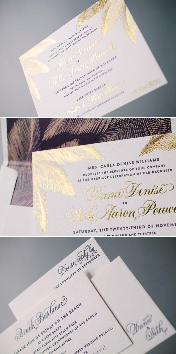 Elegant Destination Wedding Invitations In Gold Shine Beach Wedding Invitations Wedding Invitation Inspiration Destination Wedding Invitations