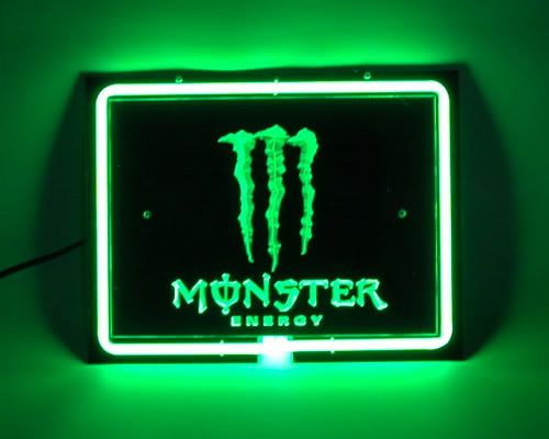 Monster Energy Drink Logo Square Green Neon Bar Mancave ...  Monster