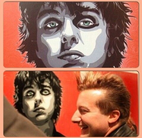 Billie Joe Armstrong.Tré at the Art of Rock gallery. London, England