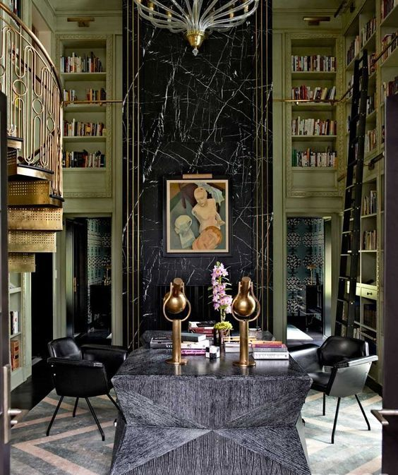 Decor And Design 9 Art Deco Style Emerald Interiors Blog Art Deco Interior - Stunnning Brass Rail, Color, Art, Furnishings - Library  In The Mercer Island Home Of Jeff And Laura Sanderson Designed By Kelly ...