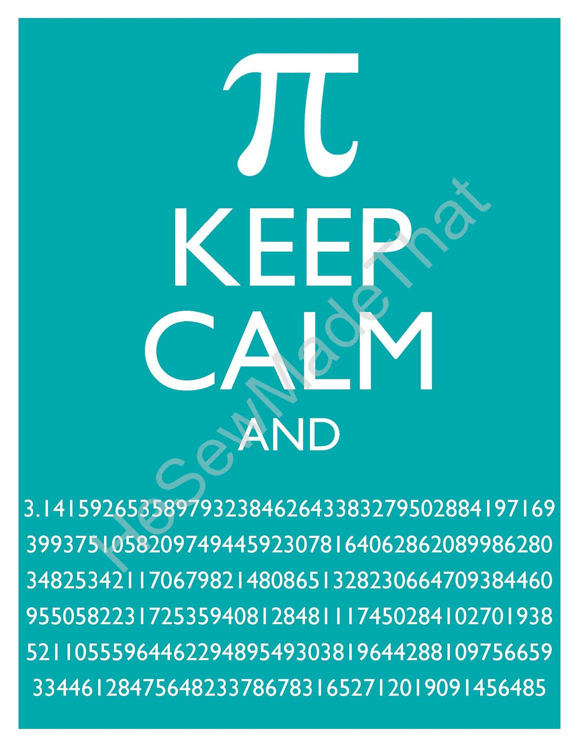 keep calm and pi - 8x10 picture - wall hanging - 3.14 math geekery